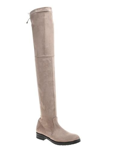 Bambi Uzun Diz Üstü Çizme Vizon